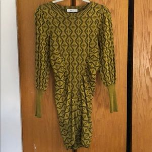 ZARA KNIT Olive Yellow Patterned Mini Dress S